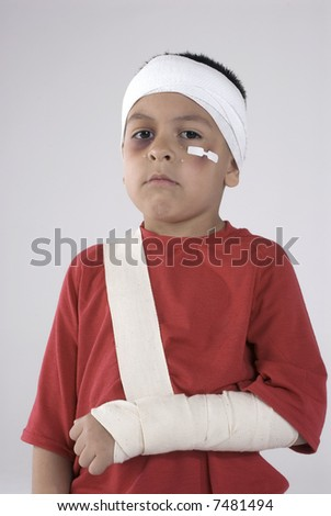 boy with injuries and tears