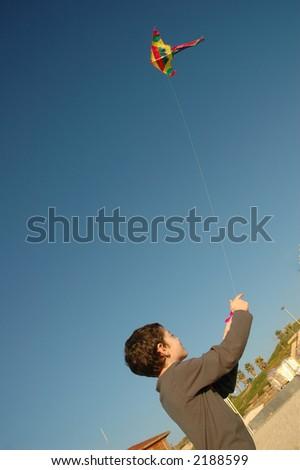 Boy with kite - stock photo
