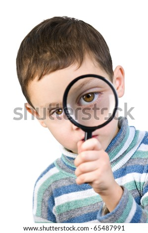 boy with magnifying glass isolated - stock photo