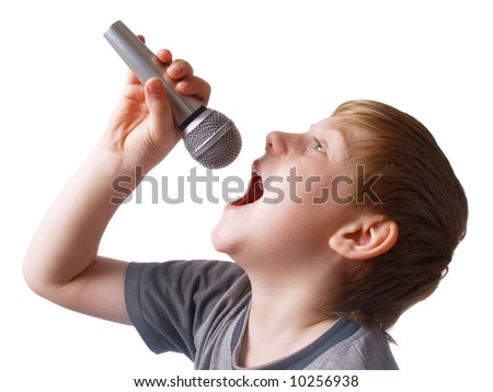 boy with microphone isolated on white