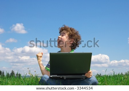 Boy with notebook - stock photo