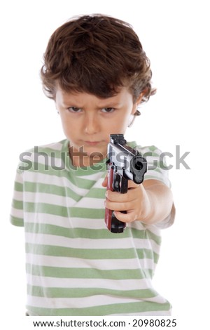 Boy with one arm with focus on pistol-Shallow DOF- - stock photo