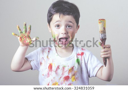 boy with painted face - stock photo