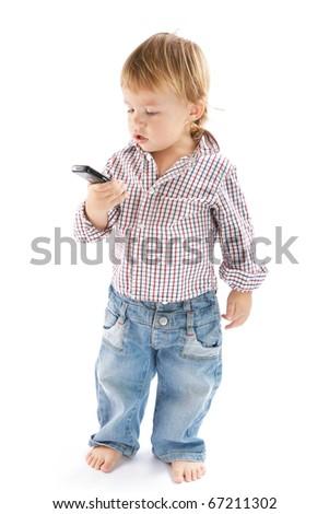 Boy with phone - stock photo