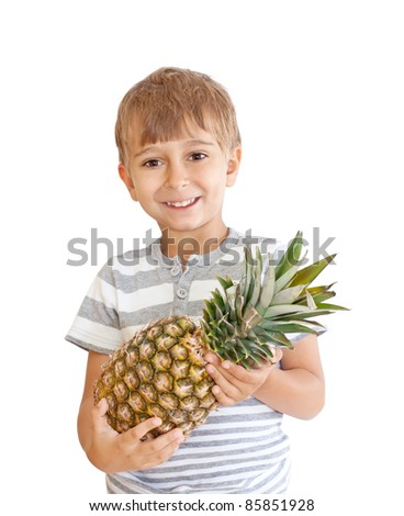 boy with pineapple isolated on a white background - stock photo
