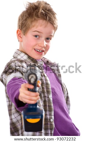 boy with power drill - stock photo