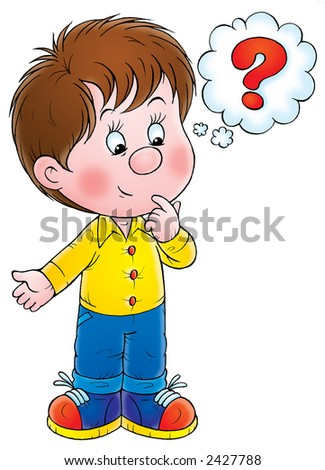 Boy with question - stock photo