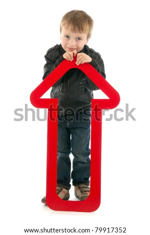 Boy with red upward arrow, on white background. - stock photo