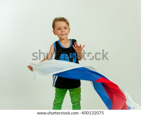 Boy with russian flag - stock photo