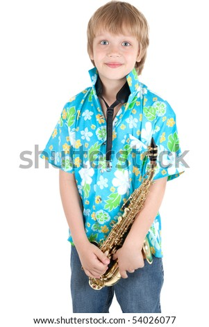 boy with saxophone - stock photo