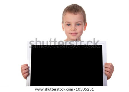 boy with screen - stock photo