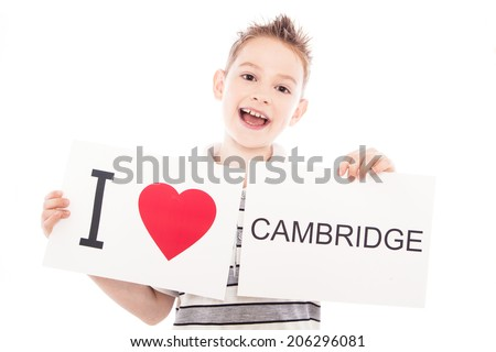 Boy with  sign I love Cambridge. Series of boy with English city signs - stock photo