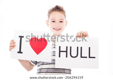 Boy with  sign I love Hull   . Series of boy with English city signs - stock photo