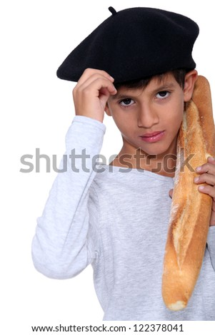 boy with slice of bread - stock photo