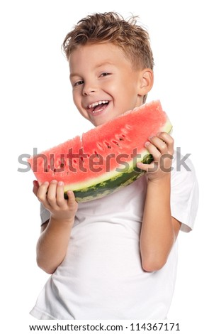 Boy with slice of watermelon isolated on white background - stock photo