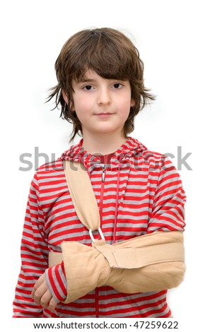 Boy with sling on broken arm isolated on pure white - stock photo