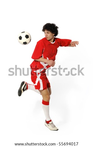Boy with soccer ball, Footballer on the white background. (isolated) - stock photo