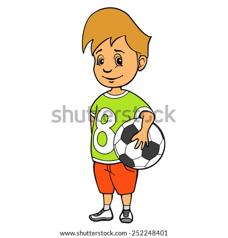 Boy with soccer ball. Illustration. Isolated on white. - stock photo