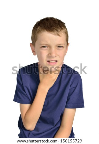 Boy with sore throat sick isolated - stock photo