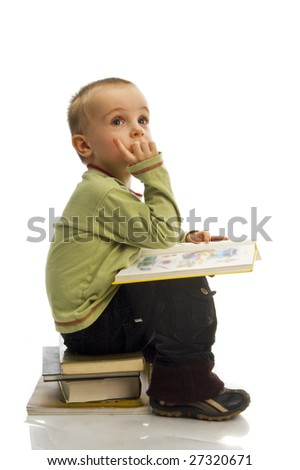 boy with stack of book