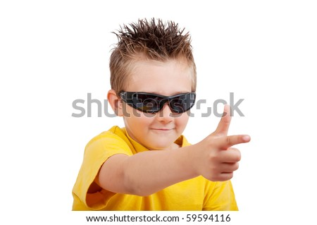boy with sunglasses and hand in shape of gun, isolated on white background - stock photo