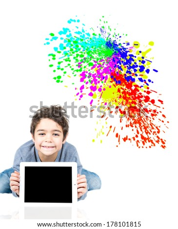 Boy with tablet - stock photo