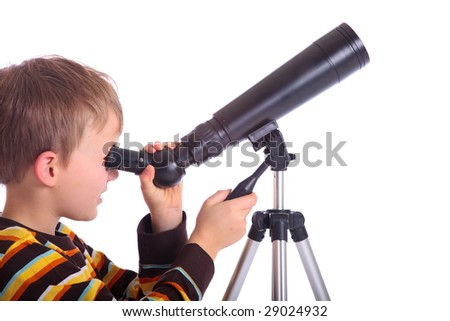 Boy with telescope - stock photo