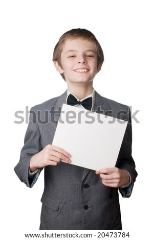 boy with the blank card - stock photo
