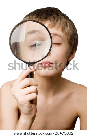 boy with the lens - stock photo