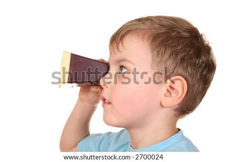 boy with transparency projector - stock photo