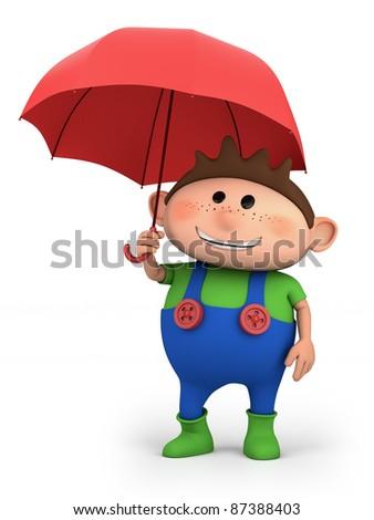 boy with umbrella - high quality 3d illustration - stock photo