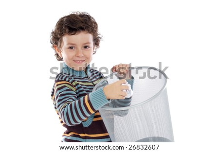 Boy with wastebasket over a white background - stock photo