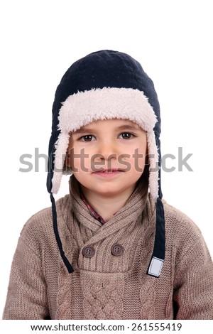 boy with winter cap - stock photo