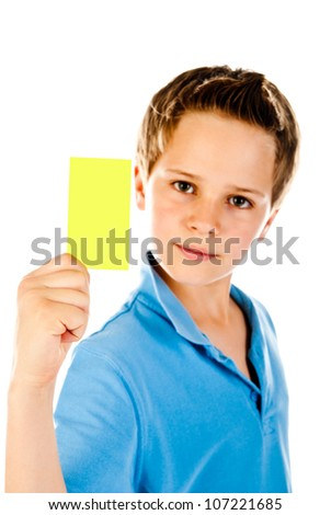 boy with yellow card isolated on a white background - stock photo