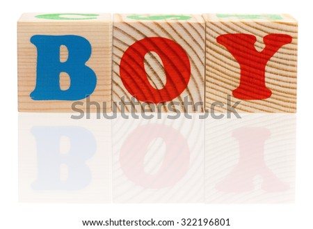 Boy word formed by wood alphabet blocks on white background  - stock photo