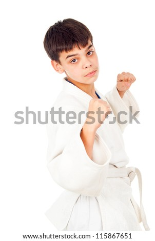 boy wrestling moves isolated on white background - stock photo
