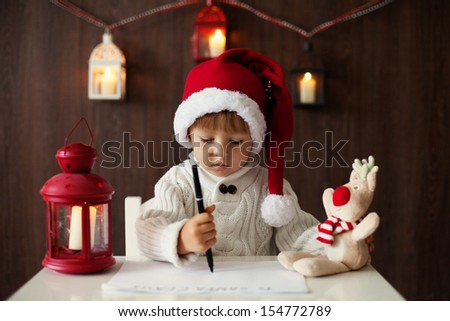 Boy, writing letter to Santa