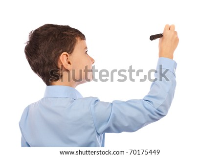 Boy writing on an imaginary board. Any text can be attached to the image to make it meaningful for buyer's project - stock photo