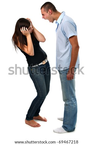 Boy yelling at his girlfriend isolated on white