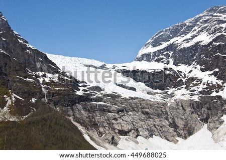 Boyabreen glacier, Norway / Boyabreen is a glacier in the Fjaerland area in Sogndal Municipality in Sogn og Fjordane county, Norway.