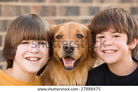 Boys and a Dog - stock photo