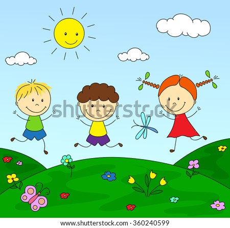 Boys and a girl playing in the meadow. illustration - stock photo