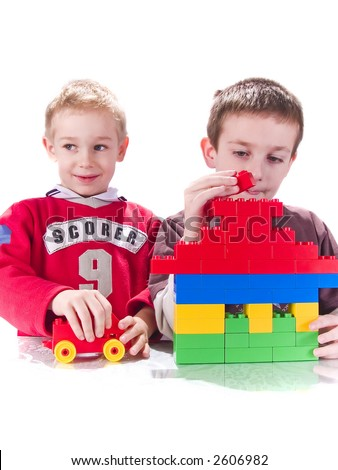 boys and building haus - stock photo