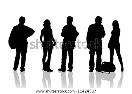 Boys and girls waiting bus - stock photo