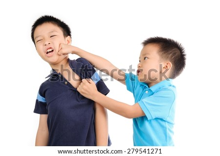 Boys are brother punch and fighting on white background stock photo