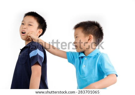 Boys are brother punch and fighting on white background - stock photo