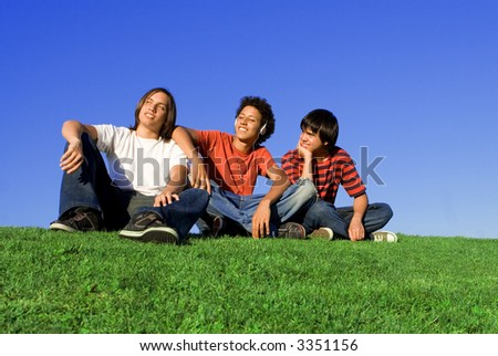 boys chilling out - stock photo