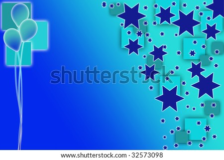 Boys faded blue party invitation with three floating balloons - stock photo