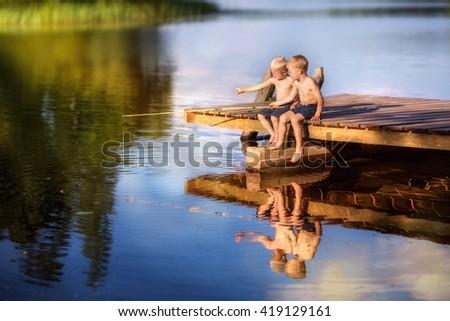 boys fishermen - stock photo