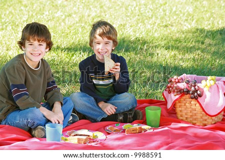 Boys Having a Picnic - stock photo